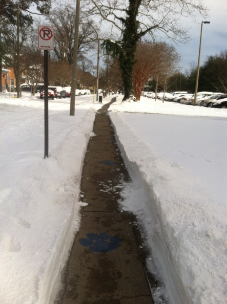 The cleared sidewalk next to Whitehurst
