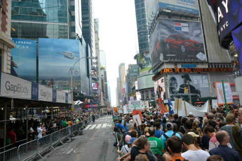 Students marched in their own block in the People's Climate March. Sept. 21, 2014. (Sean Davis)
